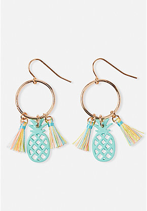 Pineapple Hoop Drop Earrings