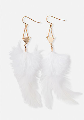 Triangle Feather Drop Earrings