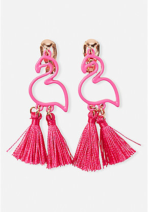 Flamingo Tassel Clip On Earrings