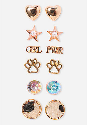 Cheetahlicious Stud Earrings - 6 Pack