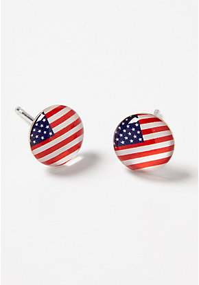 American Flag Sterling Silver Stud Earrings