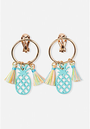 Pineapple Hoop Clip On Earrings