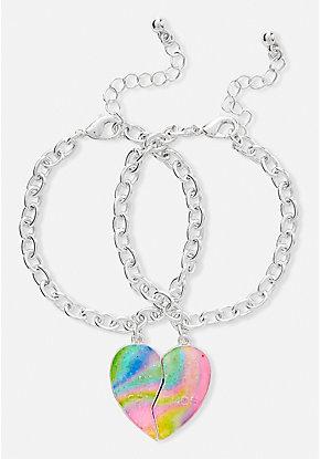 Bff Marble Heart Charm Bracelet 2 Pack