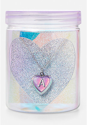 Initial Locket Necklace & Jar Set