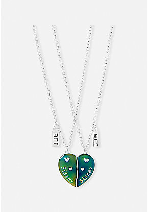 Sister BFF Mood Heart Pendant Necklace - 2 Pack