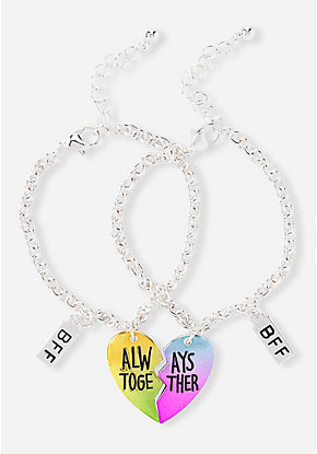 BFF Always Together Heart Charm Bracelet - 2 Pack