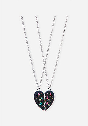 BFF Holo Unicorn Heart Pendant Necklace - 2 Pack