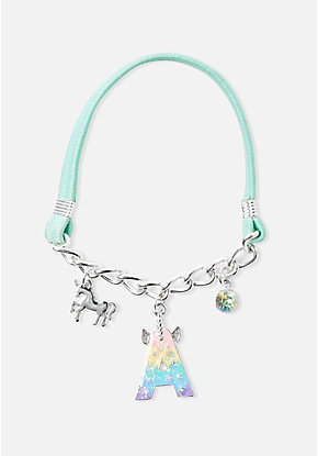 Initial Unicorn Charm Stretch Bracelet