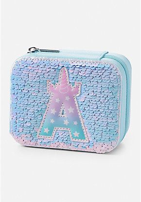 Unicorn Initial Flip Sequin Jewelry Box