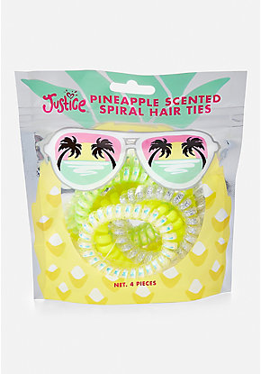 Pineapple Scented Spiral Hair Tie - 4 Pack