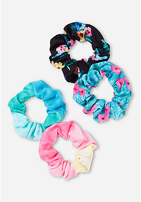 Floral & Ombre Scrunchie - 4 Pack