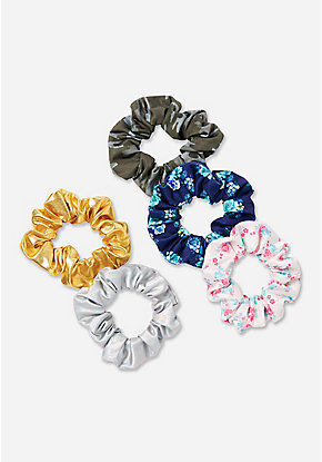 Camo, Floral & Metallic Scrunchie - 5 Pack
