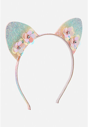 Ombre Glitter Flower Cat Ear Headband