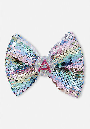 Pastel Flip Sequin Initial Hair Bow