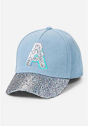 573a6cd93d6 Denim Glitter Initial Baseball Cap