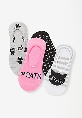 Kitty No Show Socks - 4 Pack