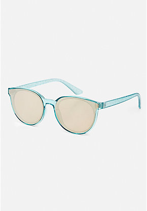 Mint Glitter Round Sunglasses