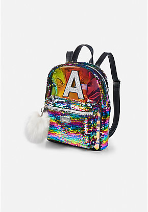 Rainbow Initial Flip Sequin Mini Backpack