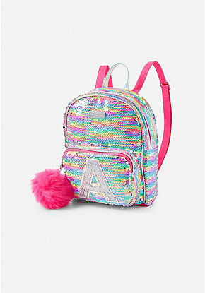 Rainbow Flip Sequin Initial Mini Backpack