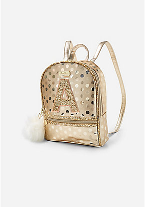 Gold Shine Initial Mini Backpack