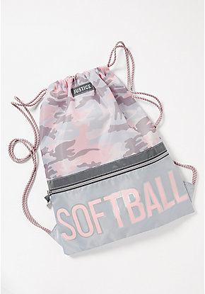 Softball Camo Drawstring Backpack