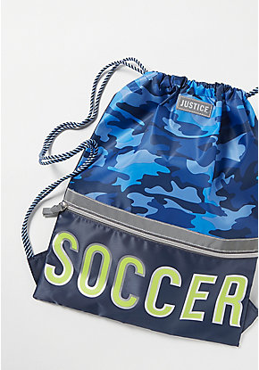 Soccer Camo Drawstring Backpack