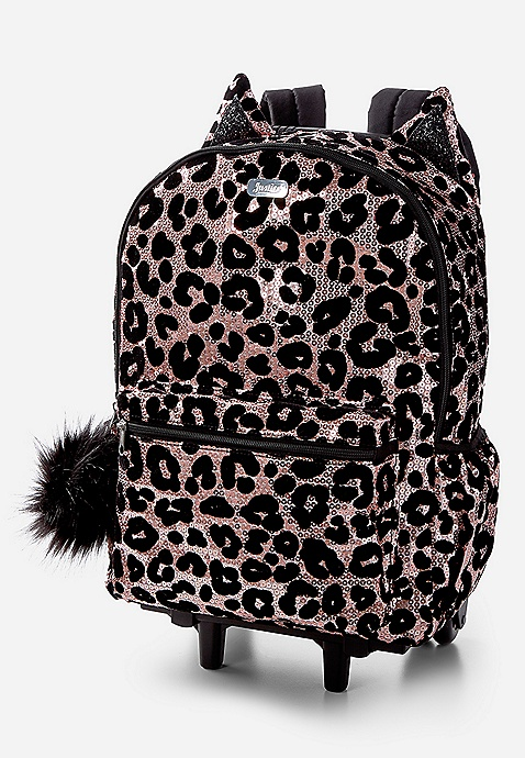 Cheetah Sequin Rolling Backpack Justice