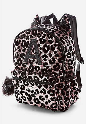 Cheetah Initial Sequin Backpack