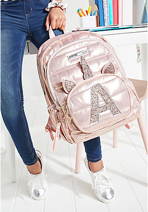 Rose Gold Quilted Unicorn Initial Backpack