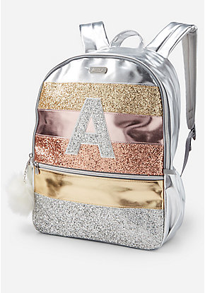 Backpack! NWT Justice Ombre Sparkle Sequin Logo FULL SIZE Rucksack