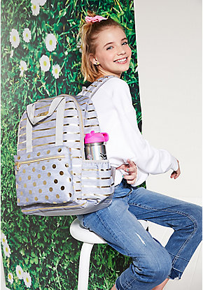 Grey Foil Stripe & Dot Backpack