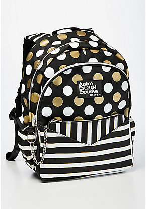Black Stripe & Dot Backpack & Wristlet