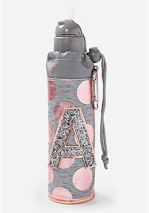 Rose Gold Foil Initial Sleeved Water Bottle