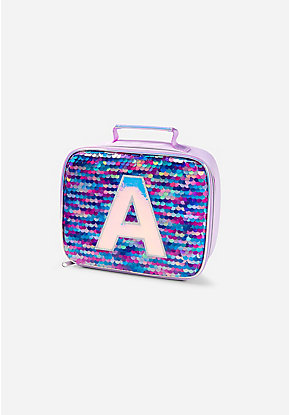 Unicorn Flip Sequin Initial Lunch Tote