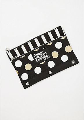 Black Stripe & Dot Pencil Case
