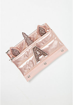 Rose Gold Quilted Unicorn Iniital Pencil Case