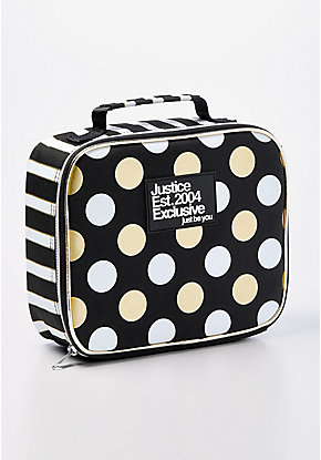 Black Stripe & Dot Lunch Tote