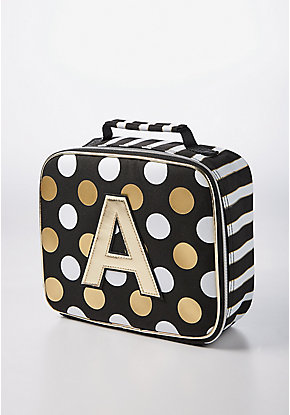 Black Stripe & Dot Initial Lunch Tote