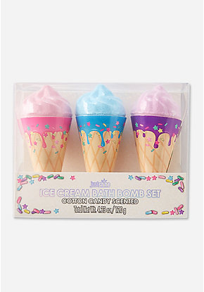 Just Shine Ice Cream Cone Bath Bomb - 3 Pack