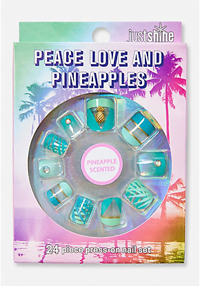 Just Shine Peace Love & Pineapples Scented Press On Nails