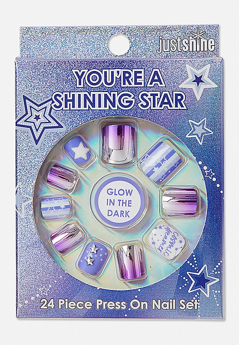 Justice Girls Just Shine Shimmer Star Press On Nails New In Package