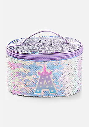 Flip Sequin Unicorn Initial Train Case