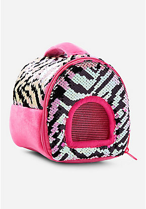 Pet Shop Zebra Flip Sequin Pet Carrier