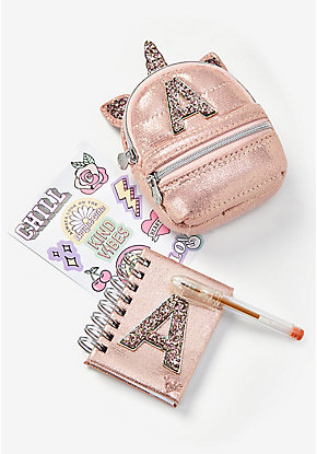 Pet Shop Rose Gold Unicorn Initial Backpack Set