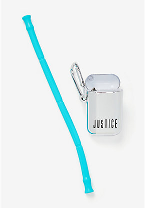 Silver Silicone Reusable Straw
