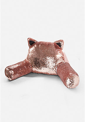 Rose Gold Cat Flip Sequin Lounge Pillow