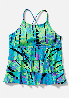 Tie Dye Tiered Tankini Top