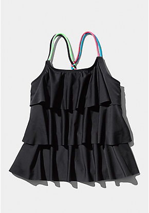 Rainbow Strap Tiered Tankini Top