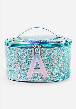 Blue Glitter Initial Train Case
