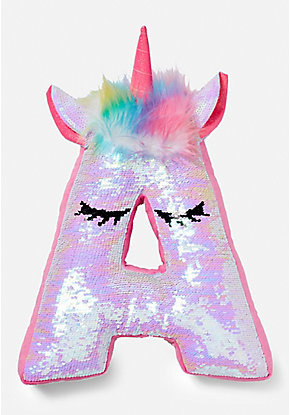 Unicorn Flip Sequin Initial Pillow